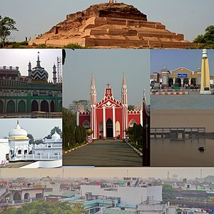 Clockwise from Top: Remains of Ahichchhatra, Bareilly Junction railway station, Ramganga Barrage, Skyline of Bareilly, Biabani Kothi, Dargah-e-Ala Hazrat and The FreeWill Baptist Church