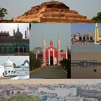 Bareilly - Clockwise from Top: Remains of Ahichchhatra, Bareilly Junction railway station, Ramganga Barrage, Skyline of Bareilly, Biabani Kothi, Dargah-e-Ala Hazrat and The FreeWill Baptist Church
