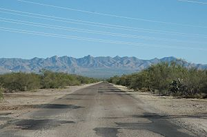 Sahuarita, Arizona - The former Sahuarita Airstrip, with the Santa Rita Mountains in the background (2007).