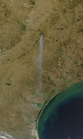 2011 Texas wildfires - View of Bastrop Complex fire captured by Terra satellite, September 5, 2011