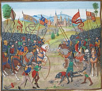 Castilian Civil War - Battle of Nájera, from a fifteenth-century manuscript, the English and Pedro are on the left.