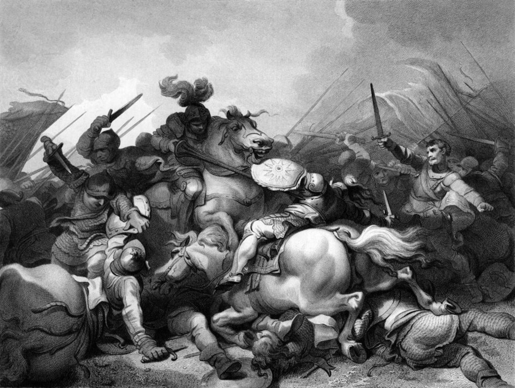 a depiction of the battle of Bosworth of infantry and Calvary clashing