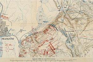 Battle of Kunersdorf - By evening, the Russian and Austrian troops entirely overran the Prussian positions (in blue), and scattered the Prussian army. The arrows show the direction of the Prussian retreat.  Map by German Grosser Generalstab (General Staff), Wars of Frederick the Great. 1880.