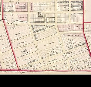 Lincoln Park (Albany, New York) - 1878 map of streets and Beaver Creek in future Lincoln Park