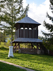 Bell tower of Exaltation of the Holy Cross church, Dobrianychi (01).jpg