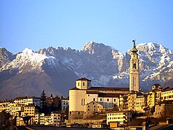 The city of Belluno with the Schiara mountain