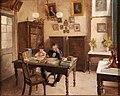 Benjamin Constant Botelho de Magalhães e uma de suas filhas estudando no seu escritório, no Imperial Instituto de Meninos Cegos, Rio de Janeiro, Brasil. Pintura de Décio Villares (cropped).jpg