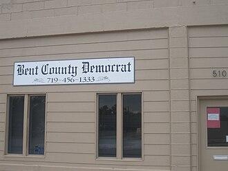 Bent County, Colorado - Image: Bent County Democrat newspaper, Las Animas, CO IMG 5732