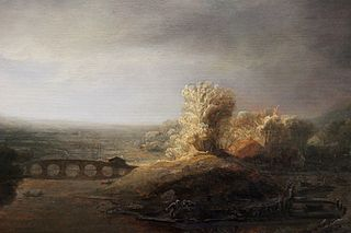Landscape with a seven arched bridge