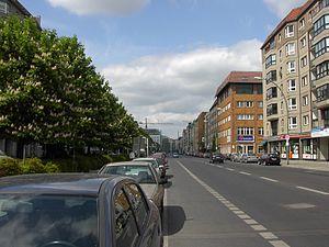 Late-1980s GDR apartment blocks on the Wilhelm...
