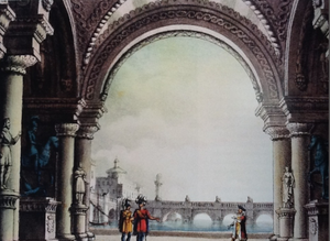 Bianca e Fernando - Set design for act 1, sc. 1  (Alessandro Sanquirico, 1828)