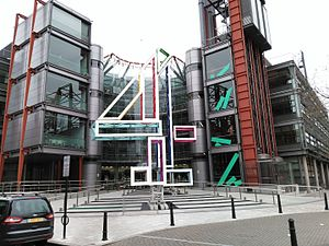 Channel Four Television Corporation - The Big 4 sculpture outside the Channel 4 building in London in January 2016