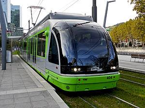 Eusko Trenbideak – Ferrocarriles Vascos - Euskotren Tranbia unit in Bilbao.