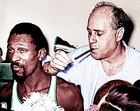 Russell And Coach Red Auerbach With His Trademark Victory Blackstone After Winning The 1966 NBA Championship