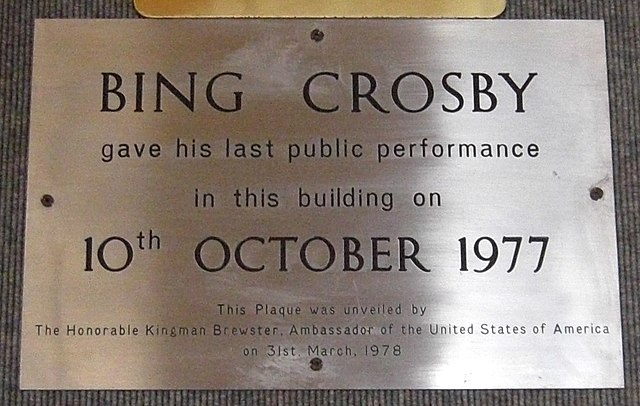 Photo of Bing Crosby brass plaque