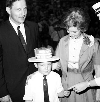 Evan Bayh - Evan with his father Birch and mother Marvella during his father's 1962 senate campaign