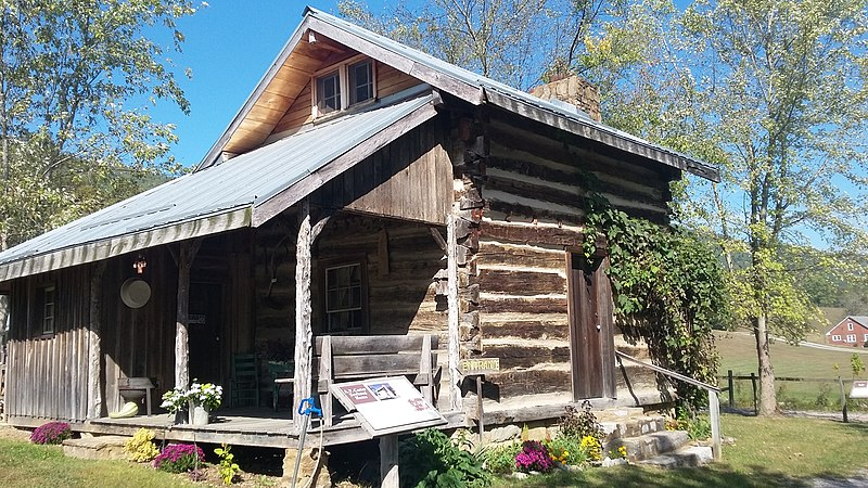 Birthplace log cabin of A.P. Carter at the Carter Fold at Maces Springs, Virginia now Hiltons, Virginia.jpg