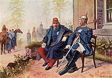 a tired sick old man in French military uniform, sitting beside an erect senior officer in Prussian uniform, spiked helmet, and sword