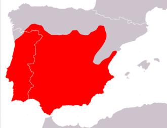 Iberian worm lizard - Image: Blanus cinereus distribution Map