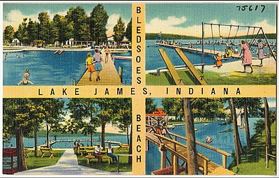 Old postcard with lake, piers, and people relaxing.