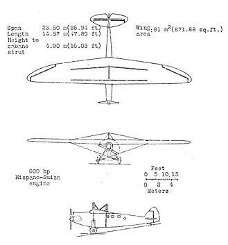 Blériot 110 - Bleriot 110 3-view drawing from NACA Aircraft Circular No.138