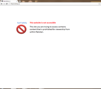 Censorship in Pakistan - Internet users in Pakistan are prompted with this message when accessing blocked websites.