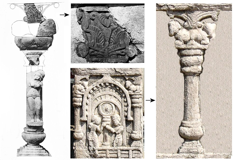Bodh Gaya pillar reconstitution from archaeology and from artistic relief