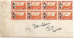 Die proof (philately) - Approved proofs from Waterlow and Sons printers for a Bolivian stamp issue of 1943. (Subsequently punched for security purposes.)