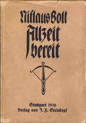 "Scout Motto - Swiss Boy Scout book ""Allzeit bereit"" (Always prepared) from 1916"