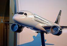 Modello dimostrativo del CSeries all'Airshow di Farborough nel 2008.