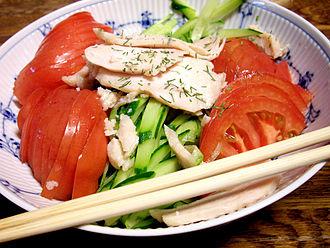 Bon bon chicken - Bon bon chicken without sauce served with a salad