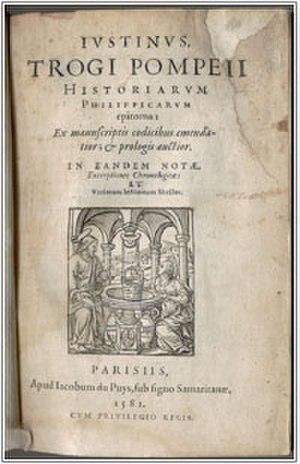 Jacques Bongars - Title page of Bongars' Justinus, Trogi Pompeii Historiarum Philippicarum epitoma de manuscriptis codicibus emendatior et prologis auctior (Paris, 1581).