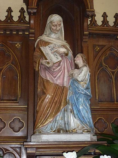 Bonningues-lès-Ardres (Pas-de-Calais) église, statue Saintes Anne et Marie