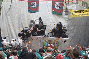 Food fight - La Battaglia Delle Arance (The Battle of the Oranges) in Ivrea, Italy