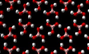 """Chicken wire (chemistry) - Hydrogen-bonded """"chicken wire"""" of boric acid."""