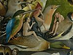 Bosch, Hieronymus - The Garden of Earthly Delights, central panel - Detail Bird and Man riding a duck.jpg