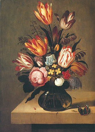 Abraham Bosschaert - Bouquet of flowers with a butterfly on a stone slab