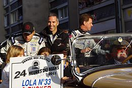 Bouchut, Barbosa, and Tucker Le Mans drivers parade 2011.jpg