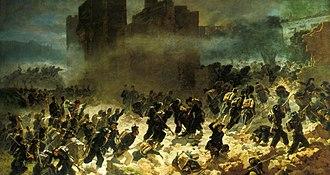 Porta Pia - Kingdom of Italy troops breaching the Aurelian Walls at Porta Pia during the Capture of Rome. Breccia di Porta Pia (1880), by Carlo Ademollo.
