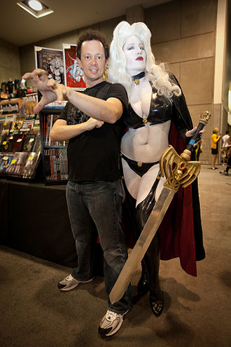 Lady Death - Brian Pulido with Belle Chere as Lady Death at SDCC 2010.