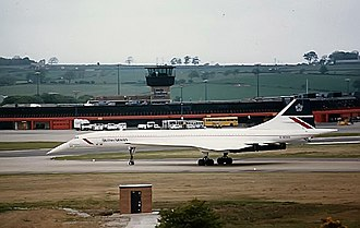 Leeds Bradford Airport - A British Airways Concorde taxis at the airport in 1987.
