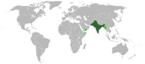 L'Empire britannique des Indes en 1939 (vert foncé) et ses anciennes dépendances (vert clair). La Birmanie est mise en vert clair mais c'est une erreur. Elle restera britannique jusqu'à 1947.