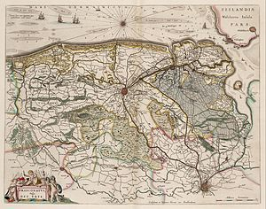 Brugse Vrije - Map of the Brugse Vrije, by Willem Janszoon Blaeu, published in 1664.