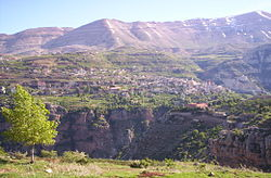 Bsharri as seen from across the Qadisha valley (facing west).
