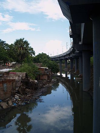 Buckingham Canal - Section of the Canal near RA Puram with MRTS
