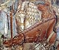 Buffalmacco, trionfo della morte, incontro dei tre vivi coi tre morti 27 cavalli.jpg