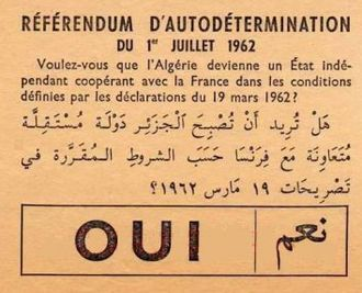 Algerian independence referendum, 1962 - Referendum ballot