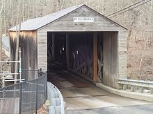 color photo of covered bridge