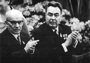 1968 Polish political crisis - Gomułka (left) with Brezhnev, 17 April 1967, Berlin