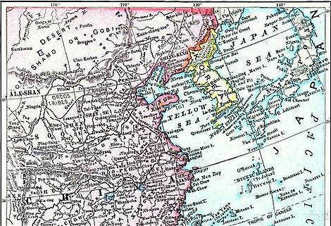 This picture is a map. It shows from left to right: China, the Yellow Sea, the Korean peninsula, the Japan Sea, and Japan.